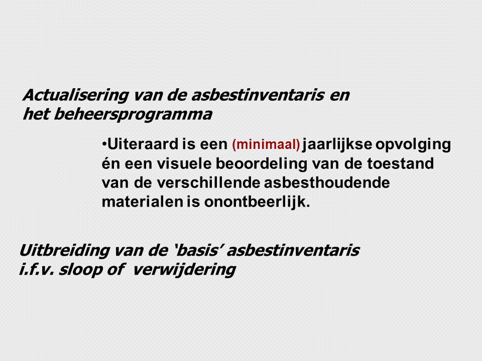 Actualisering van de asbestinventaris en het beheersprogramma