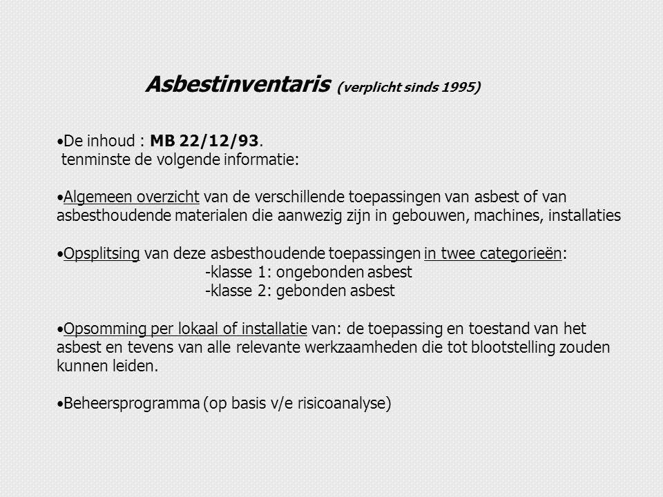 Asbestinventaris (verplicht sinds 1995)