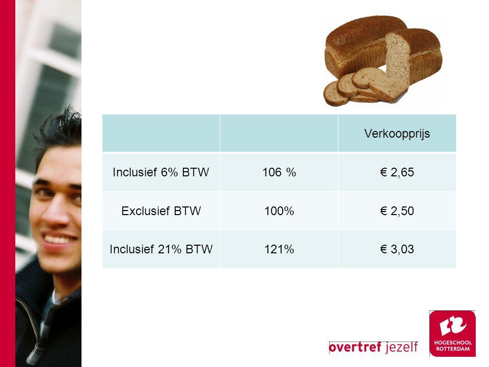 Verkoopprijs Inclusief 6% BTW 106 % € 2,65 Exclusief BTW 100% € 2,50 Inclusief 21% BTW 121% € 3,03