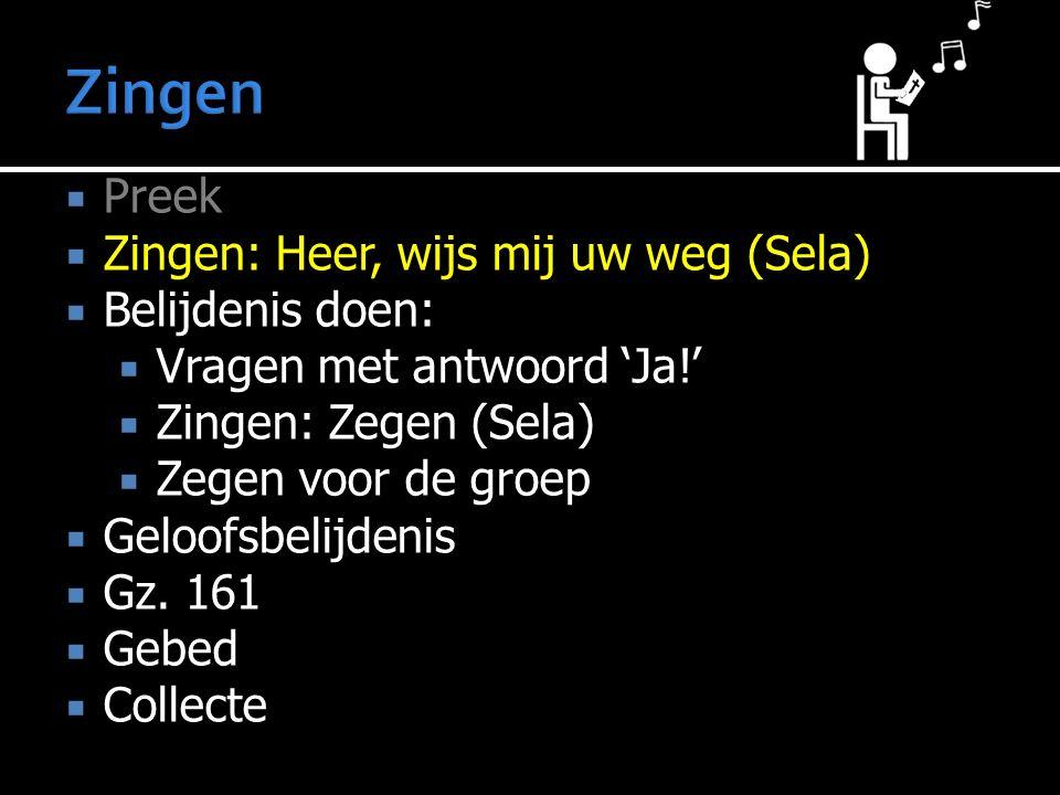Zingen Preek Zingen: Heer, wijs mij uw weg (Sela) Belijdenis doen: