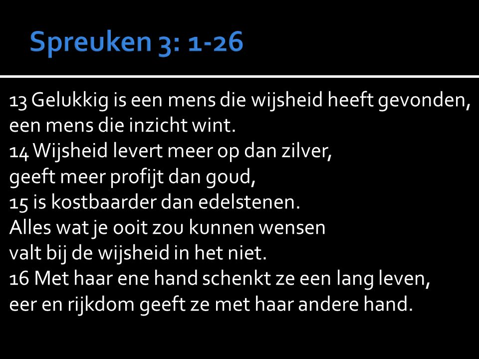 Spreuken 3: 1-26