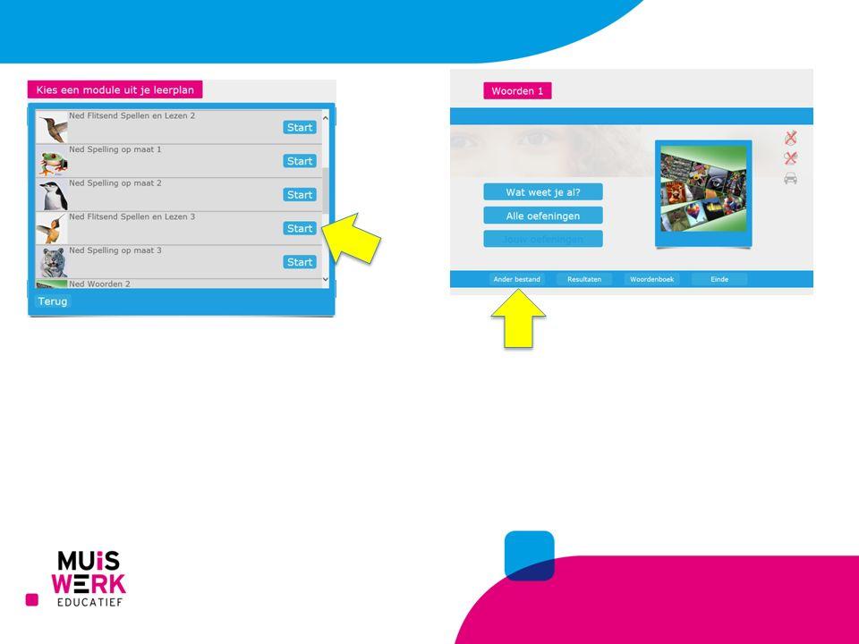 Als een leerling inlogt kan het programma op verschillende manieren opstarten.