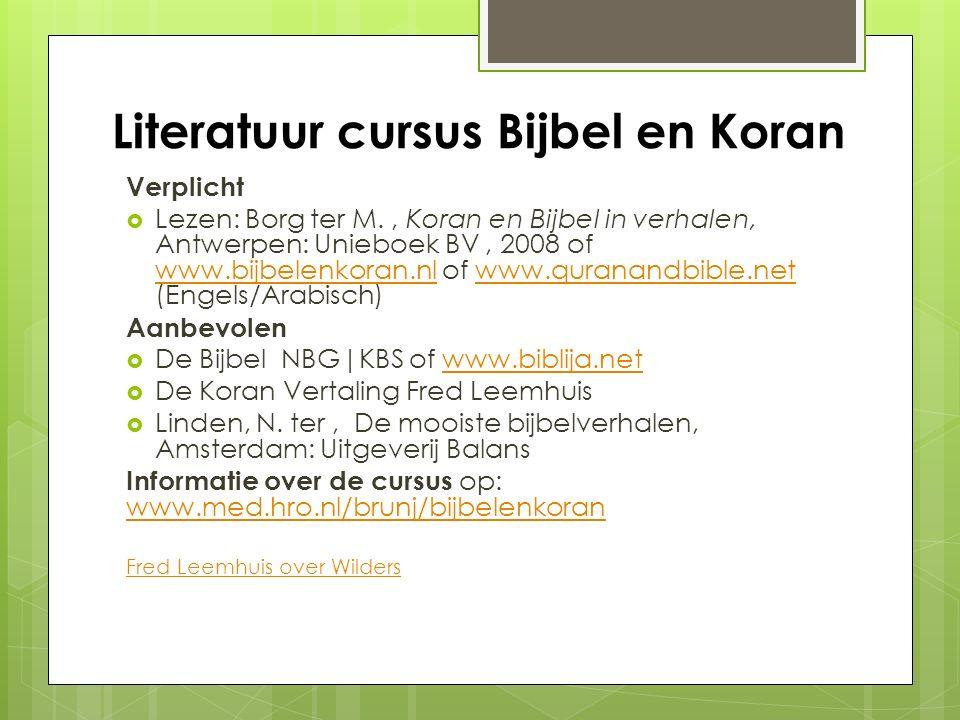 Literatuur cursus Bijbel en Koran