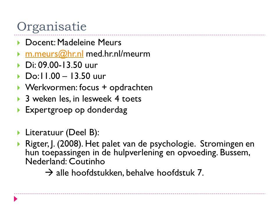 Organisatie Docent: Madeleine Meurs m.meurs@hr.nl med.hr.nl/meurm