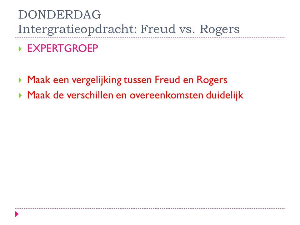 DONDERDAG Intergratieopdracht: Freud vs. Rogers