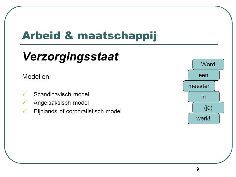 Verzorgingsstaat Arbeid & maatschappij Modellen: Word