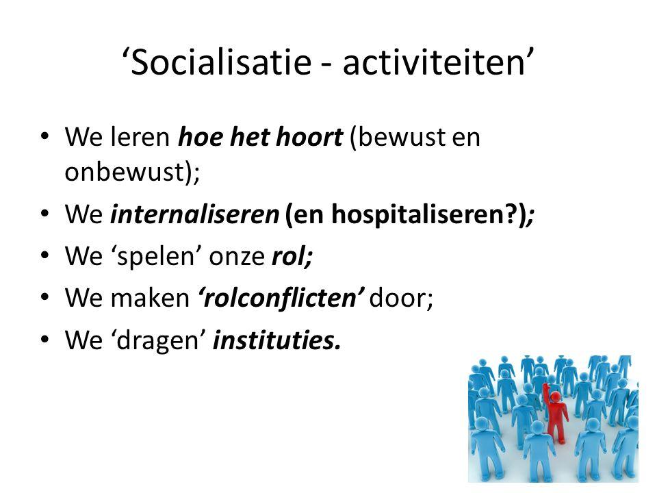 'Socialisatie - activiteiten'