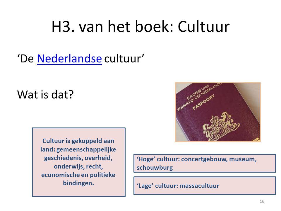 H3. van het boek: Cultuur 'De Nederlandse cultuur' Wat is dat