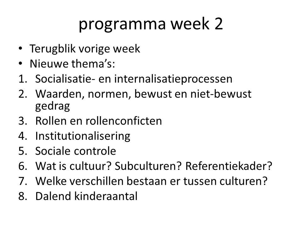 programma week 2 Terugblik vorige week Nieuwe thema's: