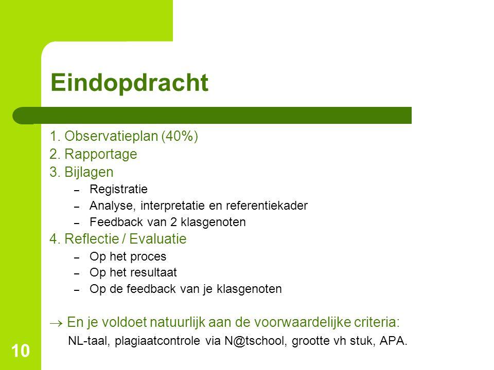 Eindopdracht 1. Observatieplan (40%) 2. Rapportage 3. Bijlagen