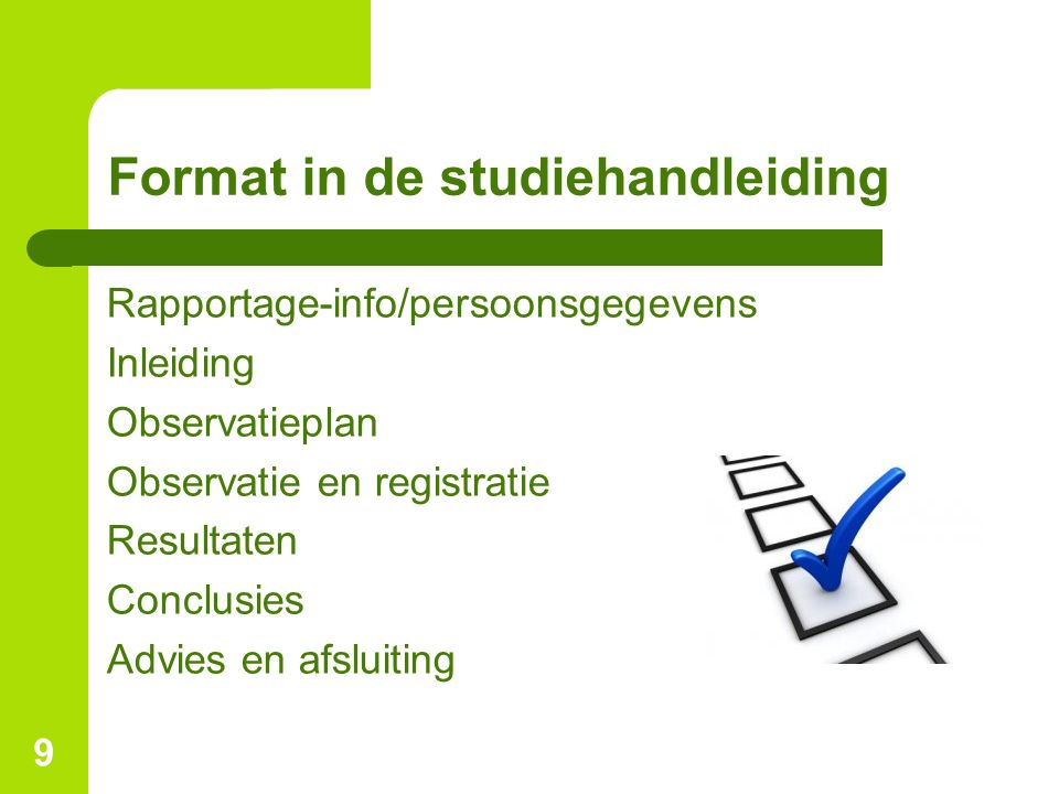 Format in de studiehandleiding