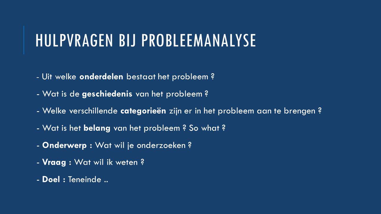 Hulpvragen bij probleemanalyse