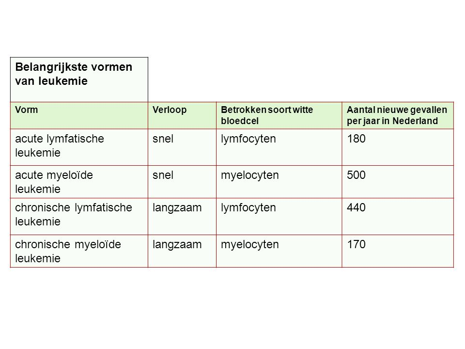 Belangrijkste vormen van leukemie