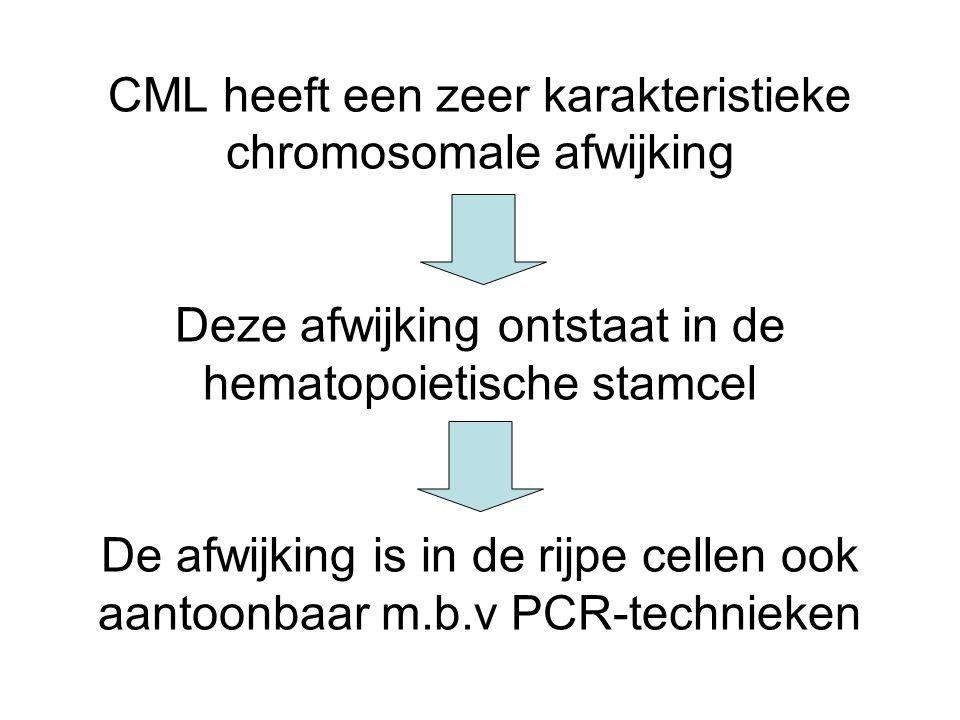 CML heeft een zeer karakteristieke chromosomale afwijking Deze afwijking ontstaat in de hematopoietische stamcel De afwijking is in de rijpe cellen ook aantoonbaar m.b.v PCR-technieken