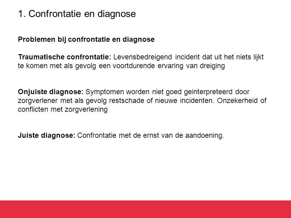 1. Confrontatie en diagnose