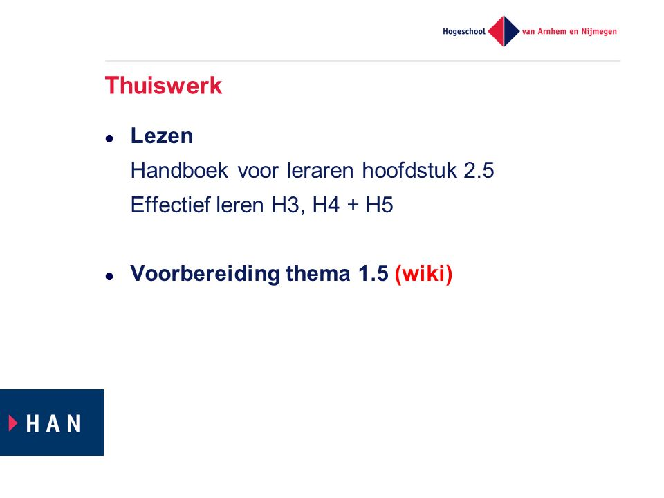 Thuiswerk Lezen Handboek voor leraren hoofdstuk 2.5