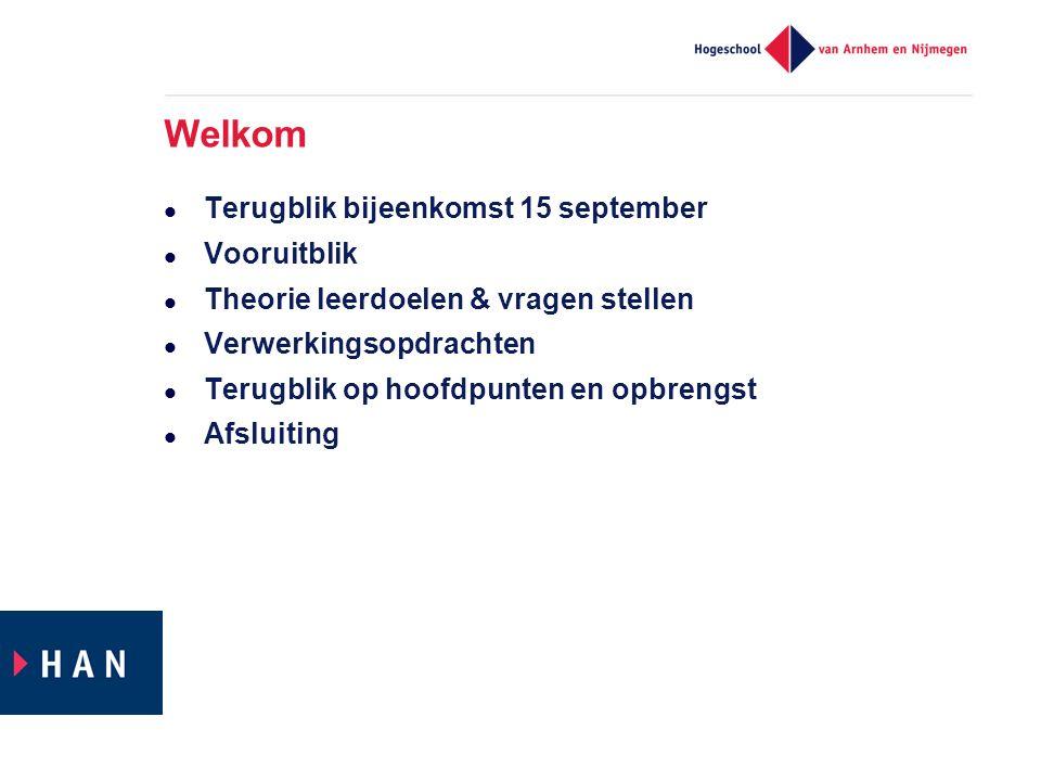 Welkom Terugblik bijeenkomst 15 september Vooruitblik