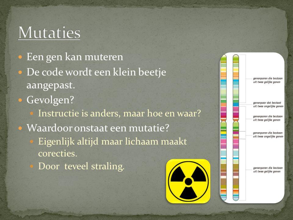 Mutaties Een gen kan muteren De code wordt een klein beetje aangepast.