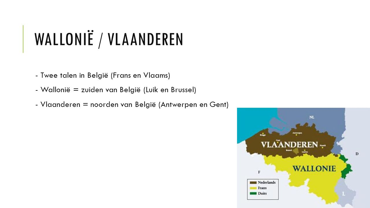 Wallonië / Vlaanderen - Twee talen in België (Frans en Vlaams)