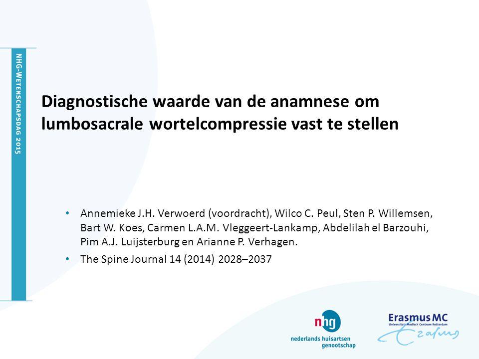 Diagnostische waarde van de anamnese om lumbosacrale wortelcompressie vast te stellen