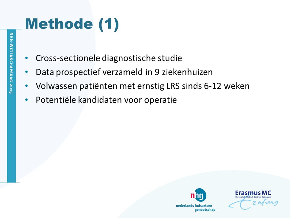 Methode (1) Cross-sectionele diagnostische studie