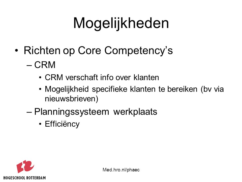 Mogelijkheden Richten op Core Competency's CRM