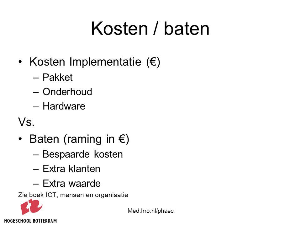 Kosten / baten Kosten Implementatie (€) Vs. Baten (raming in €) Pakket