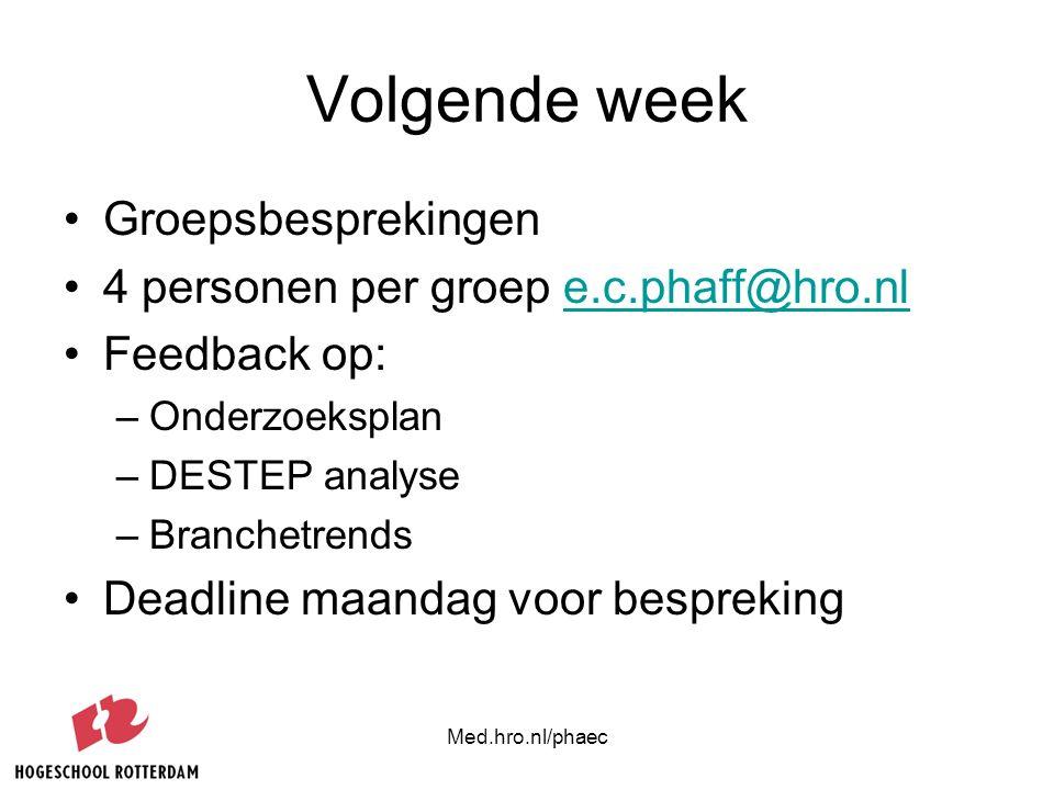 Volgende week Groepsbesprekingen 4 personen per groep e.c.phaff@hro.nl
