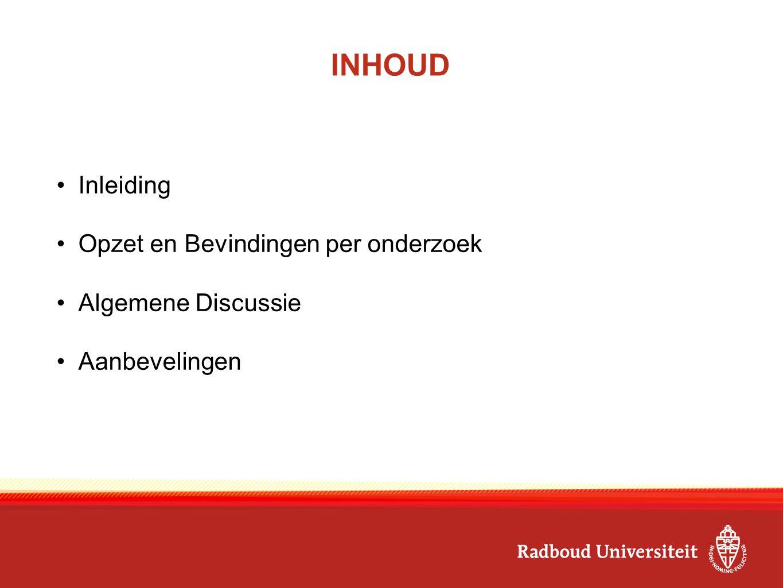 INHOUD Inleiding Opzet en Bevindingen per onderzoek Algemene Discussie