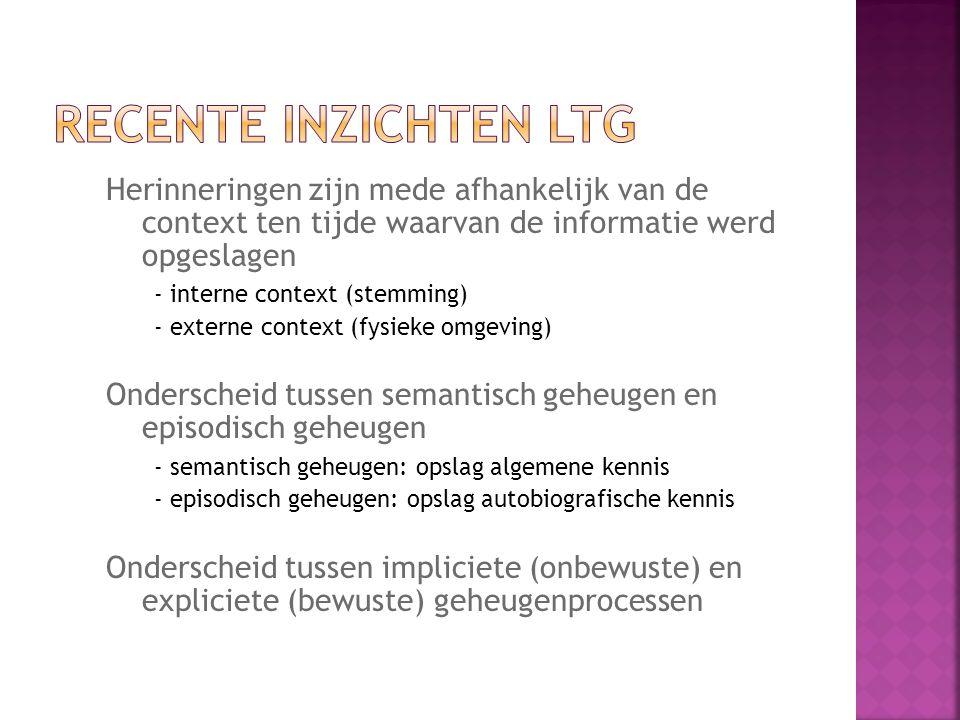 Recente inzichten LTG Herinneringen zijn mede afhankelijk van de context ten tijde waarvan de informatie werd opgeslagen.