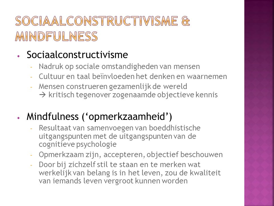 Sociaalconstructivisme & Mindfulness