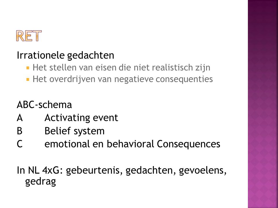 RET Irrationele gedachten ABC-schema A Activating event
