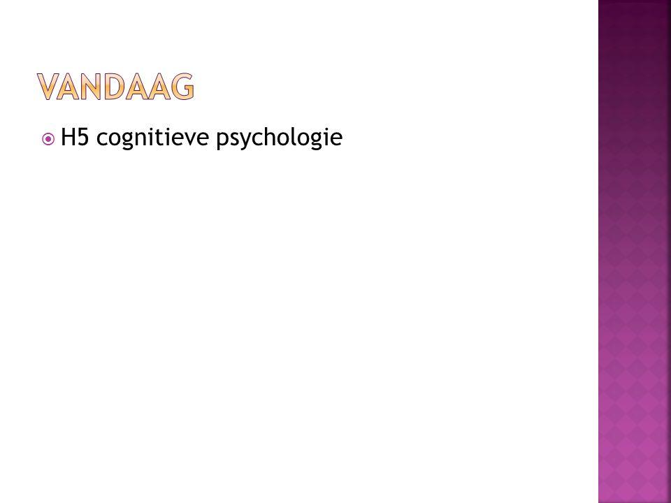 Vandaag H5 cognitieve psychologie