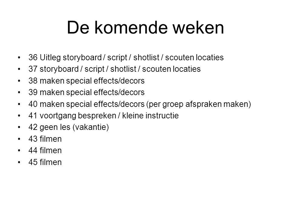 De komende weken 36 Uitleg storyboard / script / shotlist / scouten locaties. 37 storyboard / script / shotlist / scouten locaties.