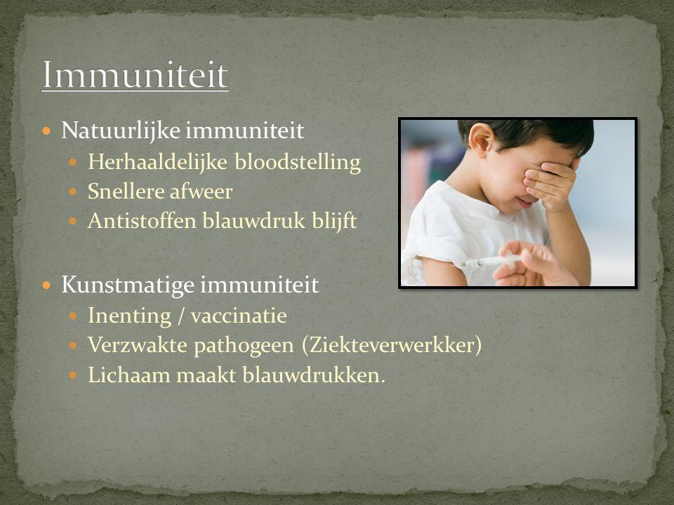 Immuniteit Natuurlijke immuniteit Kunstmatige immuniteit