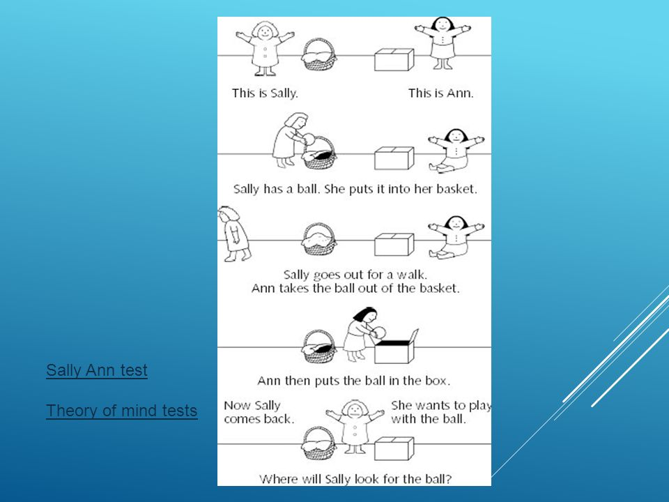 Sally Ann test Theory of mind tests