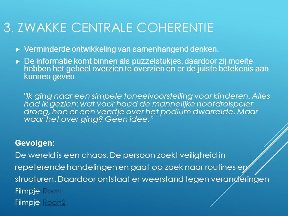 3. Zwakke centrale coherentie