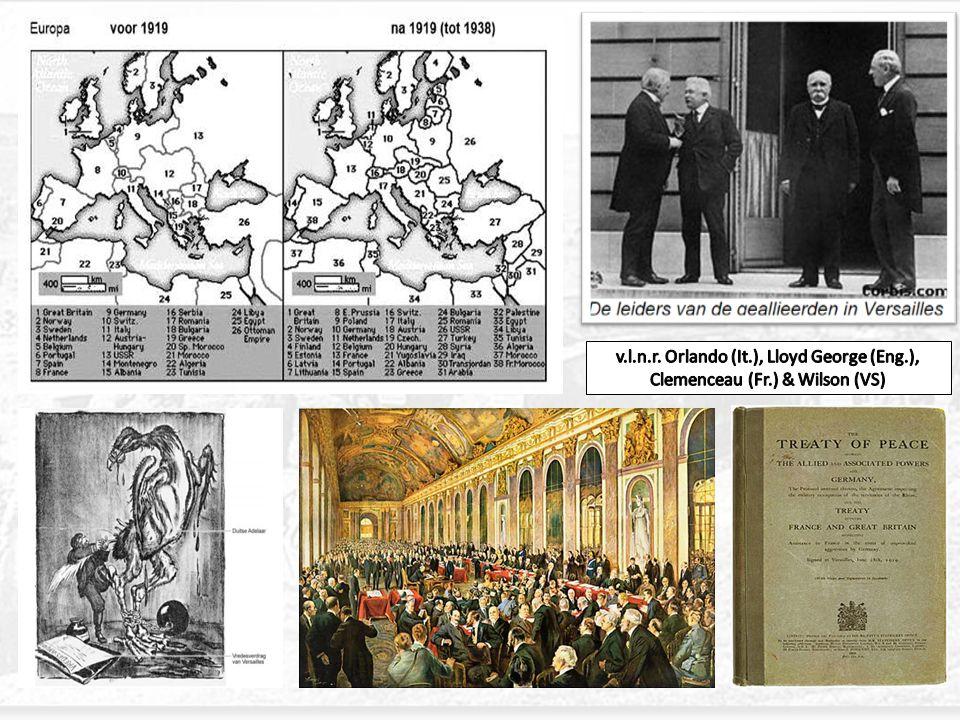 v. l. n. r. Orlando (It. ), Lloyd George (Eng. ), Clemenceau (Fr