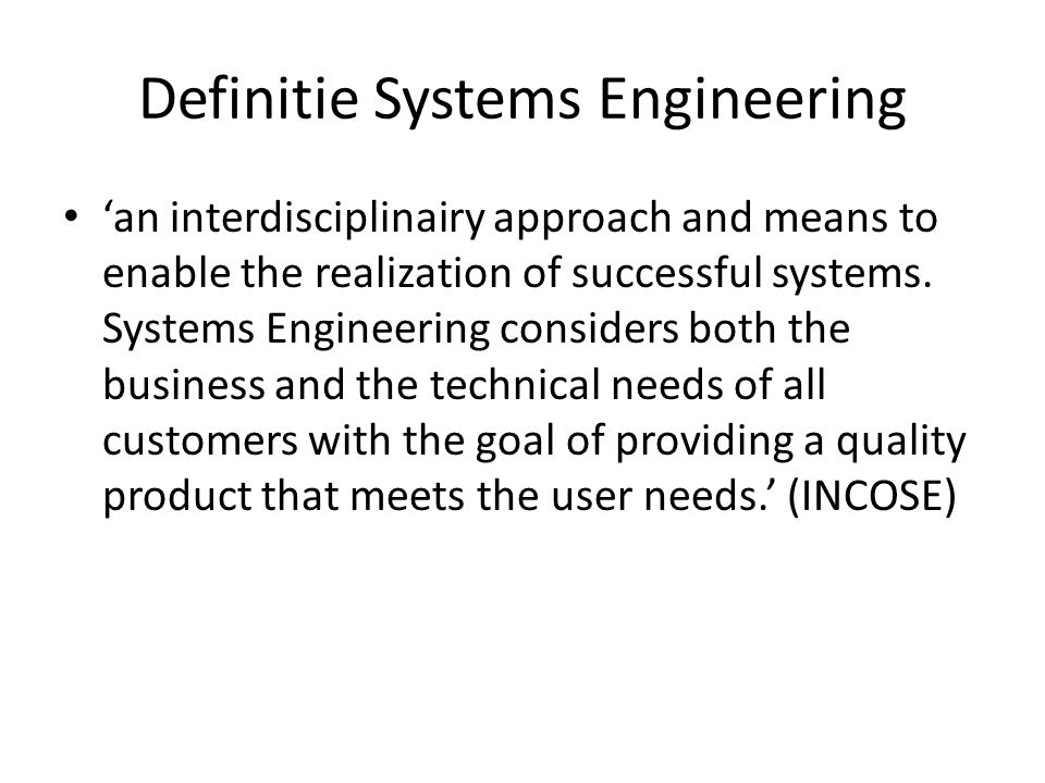Definitie Systems Engineering