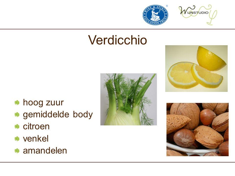 Verdicchio hoog zuur gemiddelde body citroen venkel amandelen
