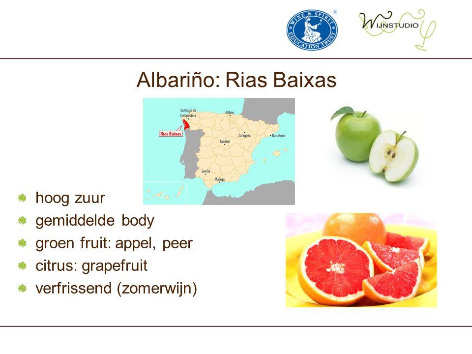 Albariño: Rias Baixas hoog zuur gemiddelde body