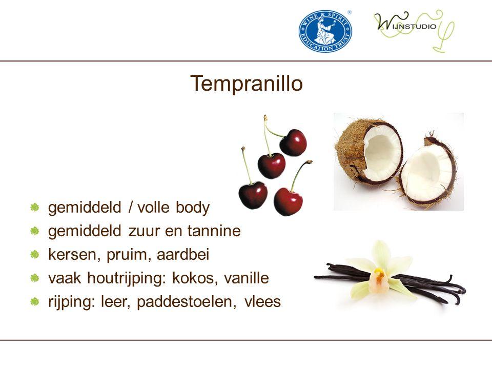 Tempranillo gemiddeld / volle body gemiddeld zuur en tannine