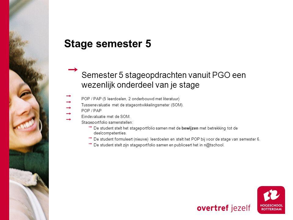 Stage semester 5 Semester 5 stageopdrachten vanuit PGO een wezenlijk onderdeel van je stage. POP / PAP (5 leerdoelen, 2 onderbouwd met literatuur)