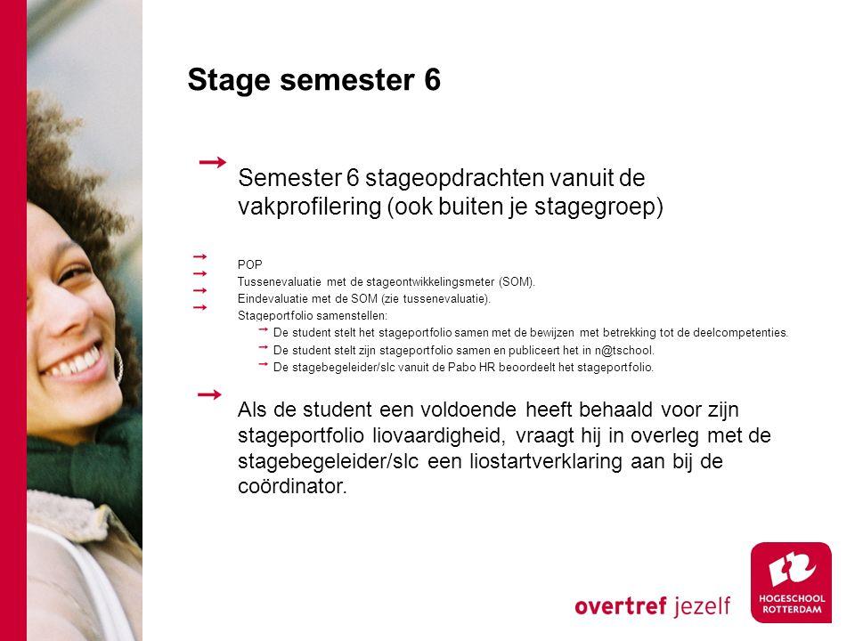 Stage semester 6 Semester 6 stageopdrachten vanuit de vakprofilering (ook buiten je stagegroep) POP.