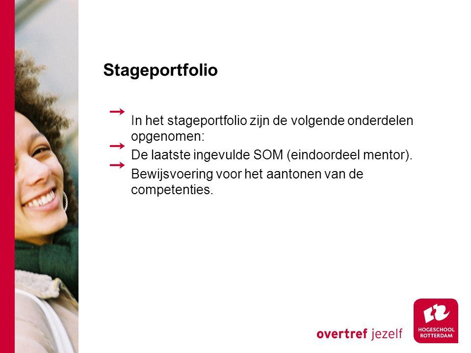 Stageportfolio In het stageportfolio zijn de volgende onderdelen opgenomen: De laatste ingevulde SOM (eindoordeel mentor).