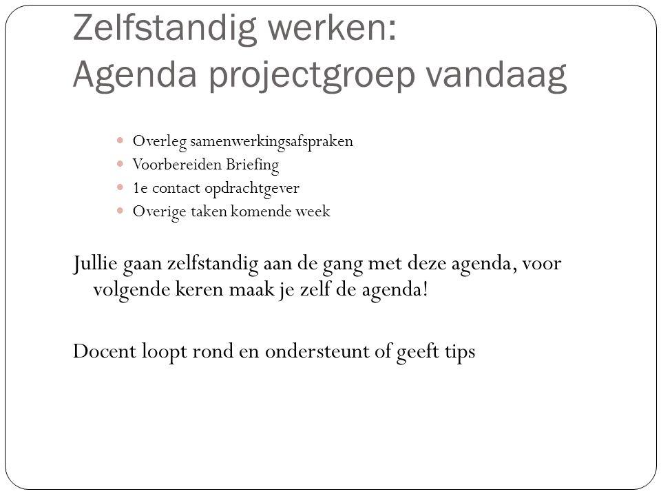 Zelfstandig werken: Agenda projectgroep vandaag
