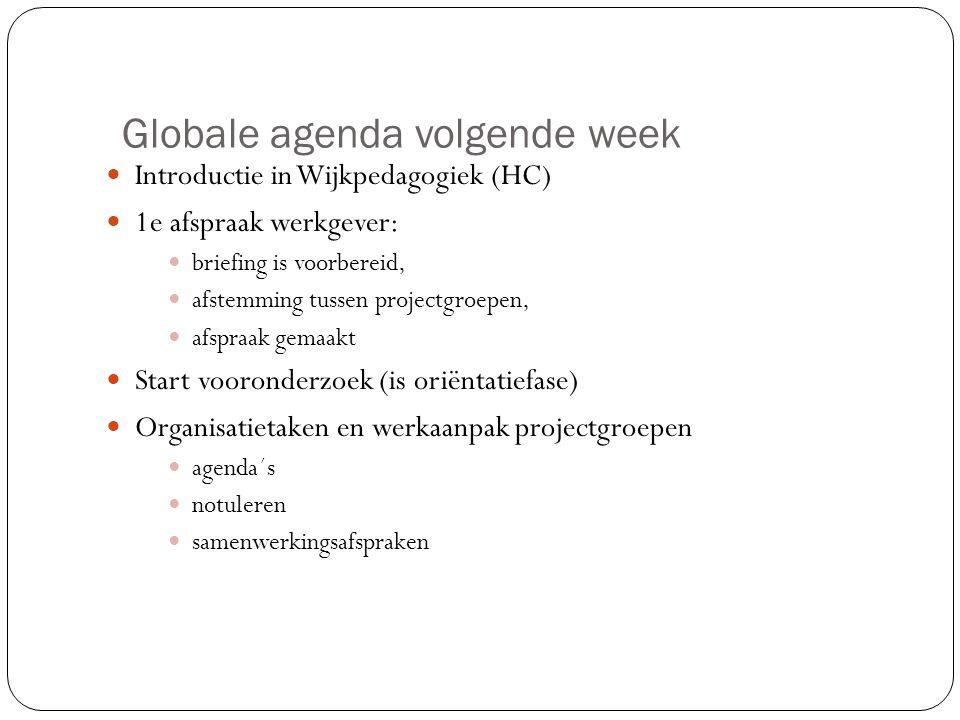 Globale agenda volgende week