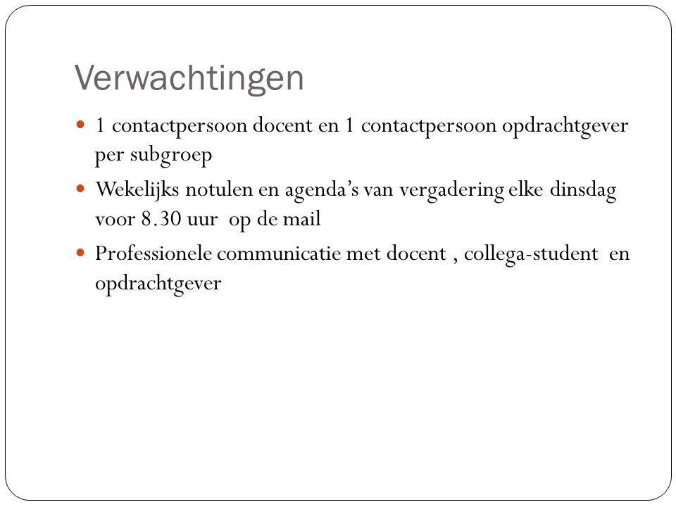 Verwachtingen 1 contactpersoon docent en 1 contactpersoon opdrachtgever per subgroep.