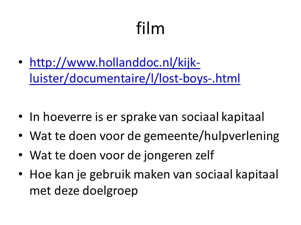 film http://www.hollanddoc.nl/kijk-luister/documentaire/l/lost-boys-.html. In hoeverre is er sprake van sociaal kapitaal.