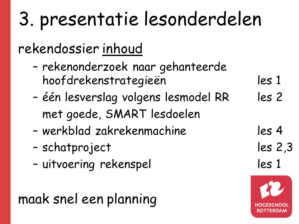 3. presentatie lesonderdelen